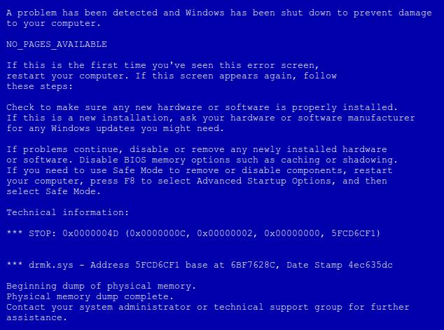 Как убрать синий экран смерти